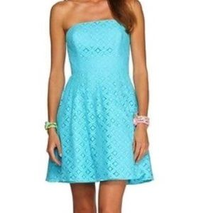Lilly Pulitzer Blue Lace Strapless Cocktail Dress
